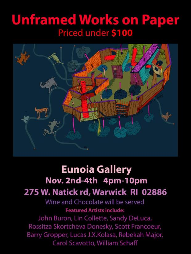 Poster for Eunoia Gallery's unframed work on paper show.