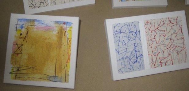 Bob Judge's small abstract paintings.