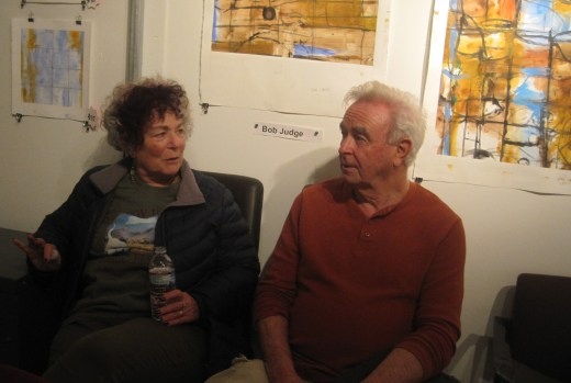Bob Judge chatting with artist Barbara Rosenbaum.