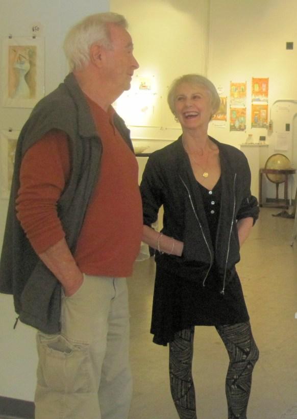 Carol Scavotto chatting with Bob Judge.