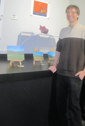 Lucas and his landscape paintings. Beautiful, detailed work that he painted in just one night.