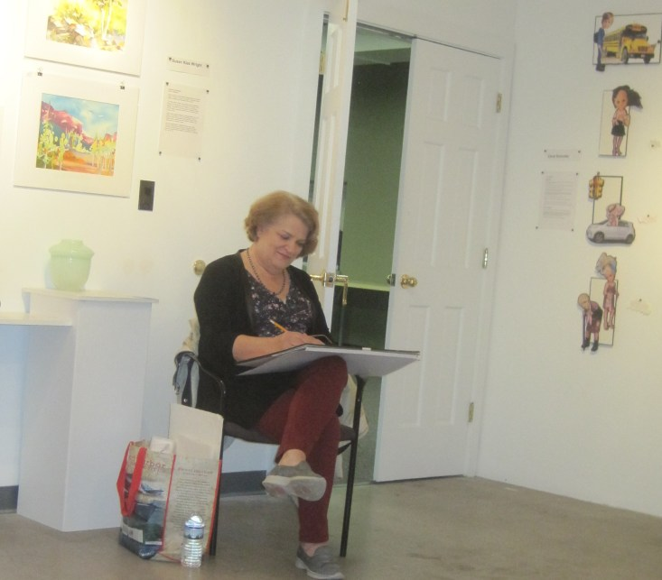 Susan getting some work done at the gallery.
