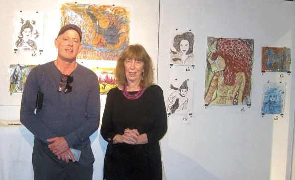 Yours truly with the wonderful Ricky Gagnon, curator of the New Hope Art Galley (with some of my work on display.)