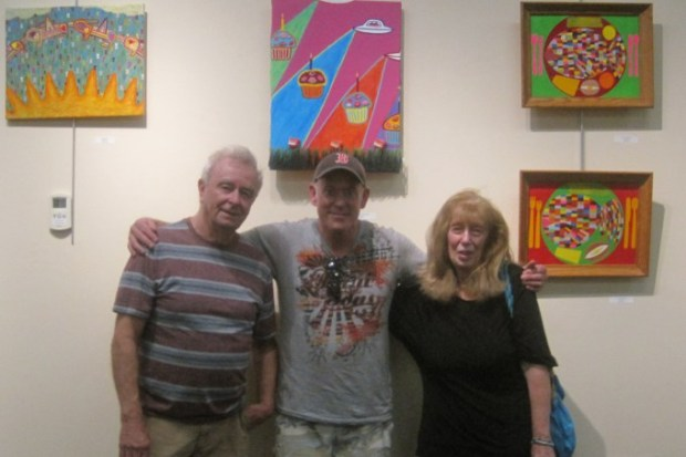 From Ricky Gagnon's solo show, Cranston Public LIbrary, October, 2018. Left to right--Bob Judge, Ricky Gagnon, yours truly.