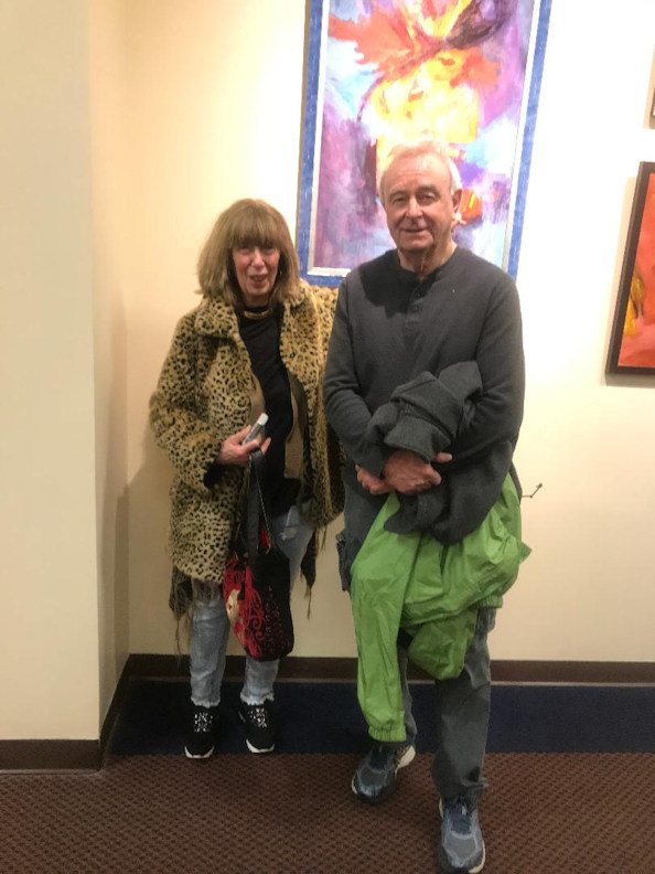With Bob Judge at Cranston Public LIbrary, Barbara Rosenbaum's solo show, January 5, 2019