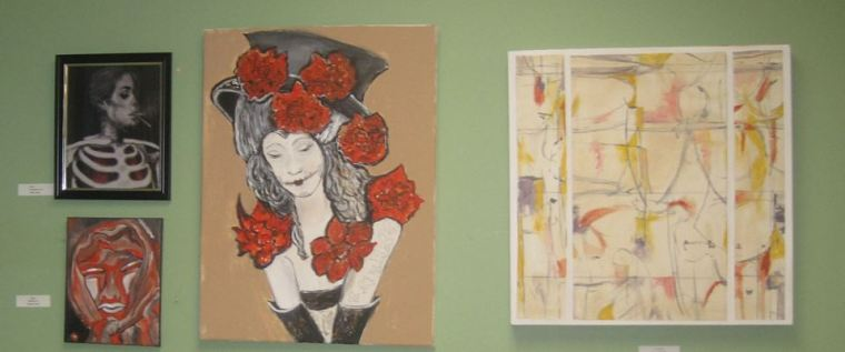 My Goth Girl, Bob's abstract painting and other cool pieces mingling together.