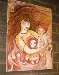 The Hurricane, my painting from SMALL SPIRITS, DARK DOLLS, hanging on the stairwell.