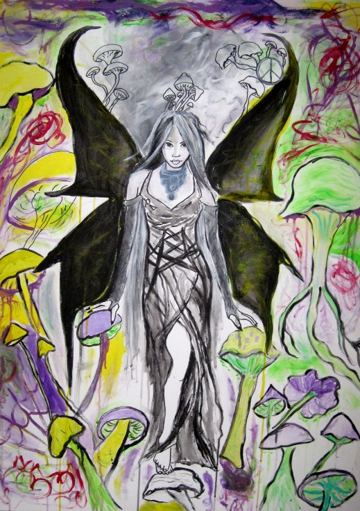 Dark Angel in a psychedelic Landscape