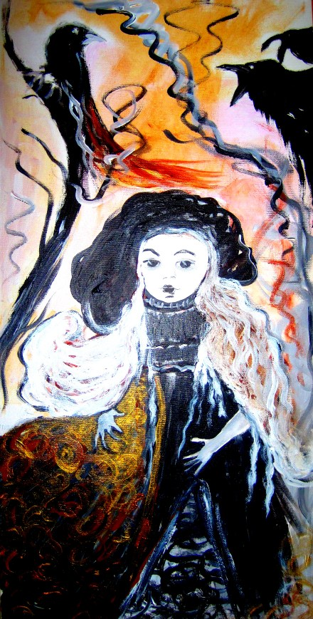 """""""Muses 2"""". My mother was a seamstress and sewed clothes for my dolls. I remember fabric, thread...those blackbirds soaring outside the window as she sewed."""